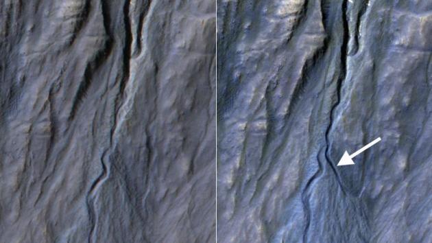 La NASA muestra la fotografía de un desfiladero marciano recién formado