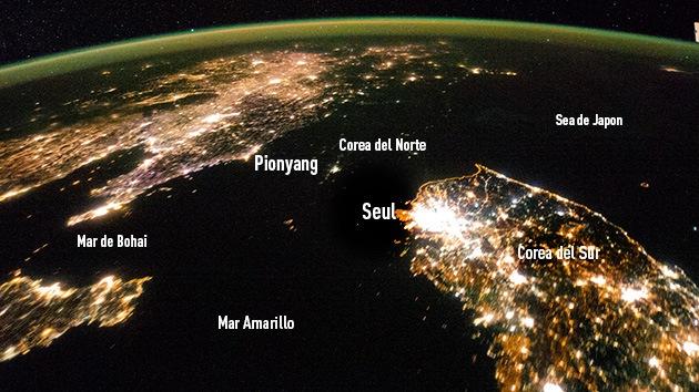 Video: A Corea del Norte se lo traga la noche en las imágenes captadas por satélite