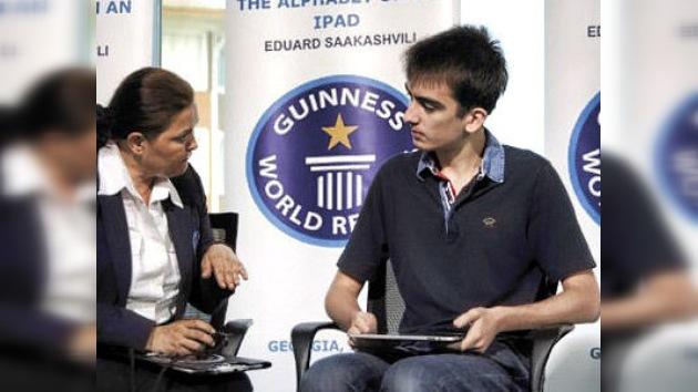 El hijo del presidente georgiano es el más rápido en apretar los botones de iPad