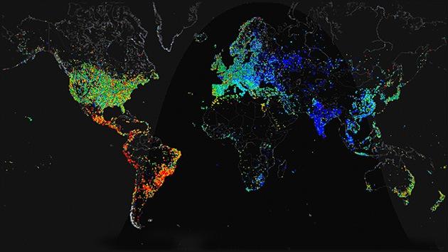 Imágenes espectaculares del mapa mundial de acceso a Internet