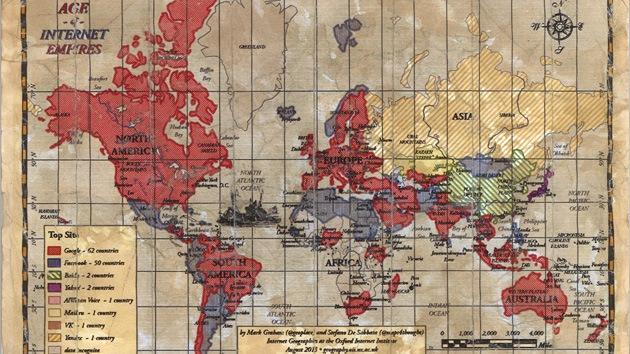 'Age of Internet Empires': crean un mapa de los sitios web más visitados del mundo