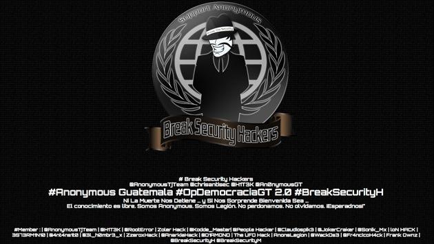 Anonymous ataca a páginas gubernamentales de Guatemala