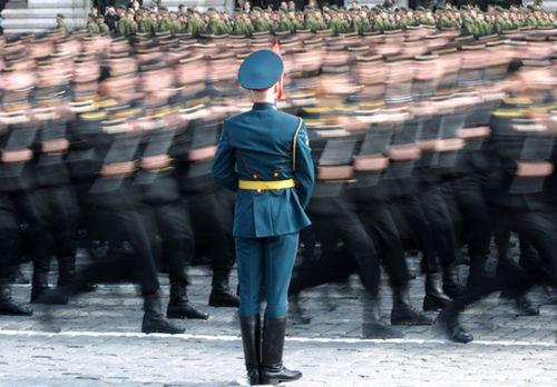 Ensayo general del desfile del 9 de Mayo