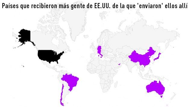 Mapa: Australia, Brasil y Alemania, países de éxodo desde EE.UU.