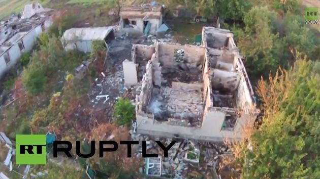 Impactante video: El Ejército de Kiev borra una aldea de Donetsk de la faz de la tierra