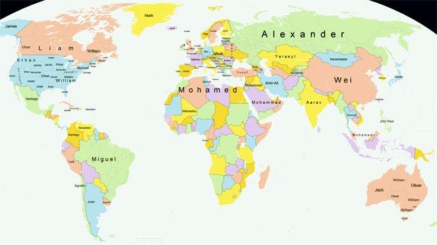¿Santiago, William, Mohammed o Alexander?: Crean mapa de los nombres más populares