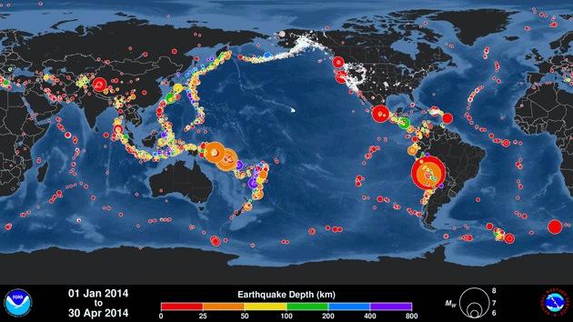El mes que sacudió el planeta: Abril de 2014 registra el récord de terremotos