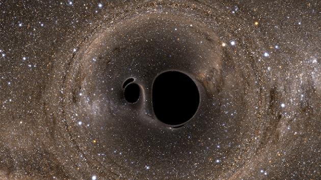 Impresionante imagen muestra como veríamos el choque de dos agujeros negros
