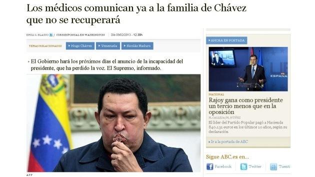 Un artículo del diario español 'ABC' jubila a Chávez por cuestiones de salud