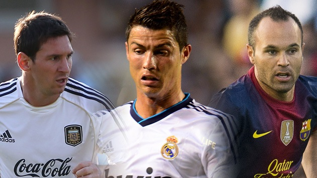 Messi, Cristiano Ronaldo e Iniesta, finalistas al premio de Mejor Jugador en Europa
