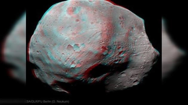 La luna marciana Fobos, fotografiada en 3D