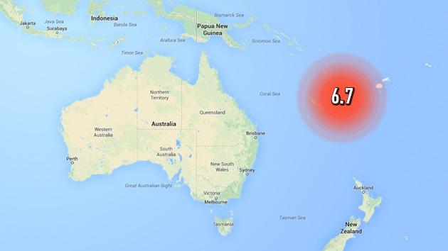 Se registra un terremoto de magnitud 6,7 cerca de las costas de Nueva Caledonia
