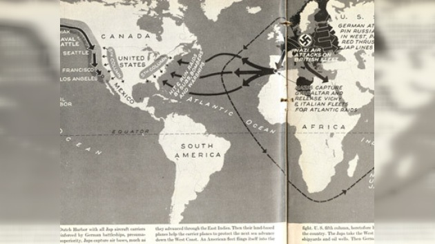 Mapas publicados en 1942 plantean la invasión nazi de América