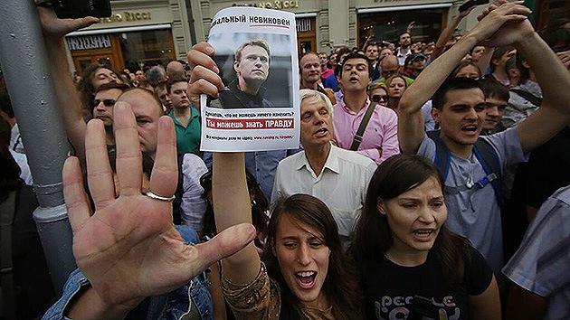 Protesta no autorizada en Moscú contra la condena al opositor Alexéi Navalny