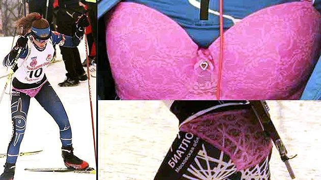 Una biatleta rusa compite en ropa interior y gana