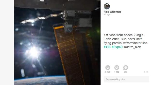 El Sol que nunca desaparece: así es el primer video Vine de la historia publicado por un astronauta