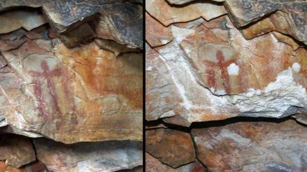 Ataque 'primitivo' contra una pintura rupestre de 5.000 años: intentan robarla y la destrozan