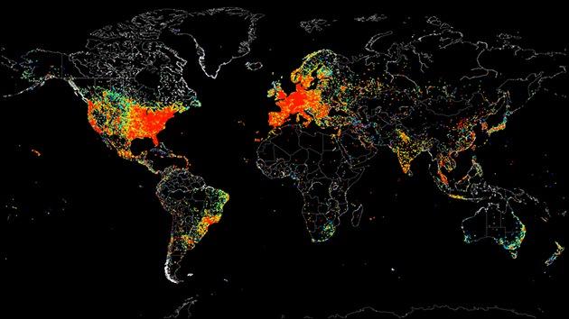 Retrato de la Web: mapamundi de todas las conexiones a Internet