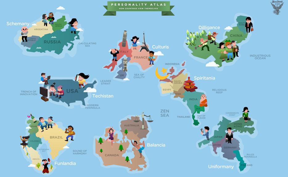 Mapamundi de estereotipos Cmo vemos nuestros propios pases y