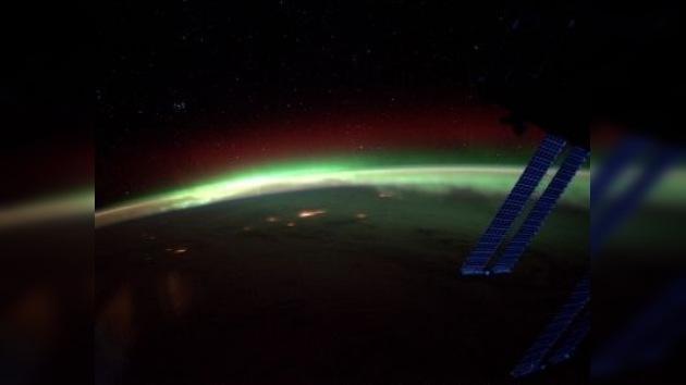 La aurora boreal, vista desde la Estación Espacial Internacional