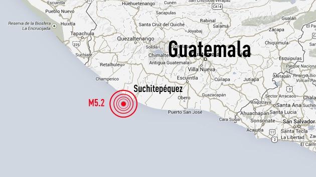 Un terremoto de magnitud 5,2 sacude la costa de Guatemala