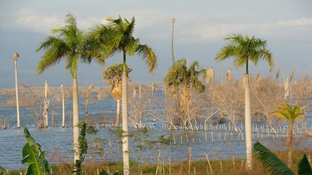 El crecimiento del lago más grande del Caribe amenaza con sumergir a un pueblo
