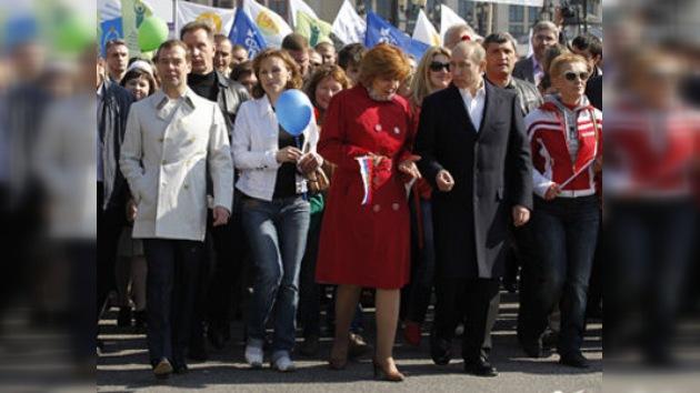 Medvédev y Putin, en las manifestaciones del 1 de mayo en Rusia