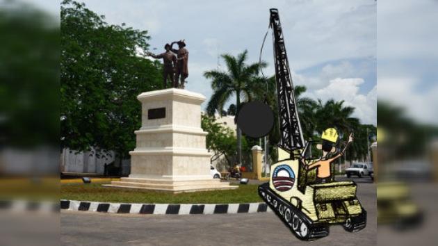 Los mayas piden que se destruya la estatua de los conquistadores