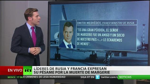 Líderes de Rusia y Francia dan su pésame por la muerte de De Margerie