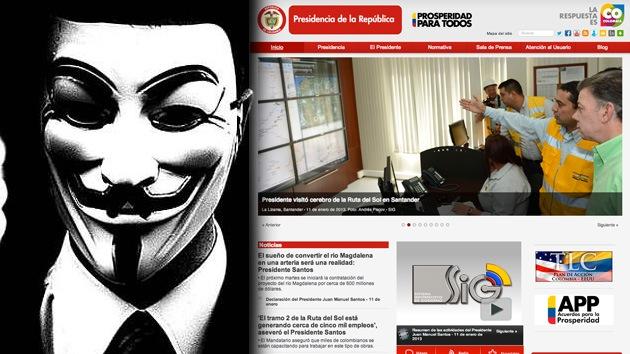 Anonymous 'tumba' la web de la Presidencia de Colombia en nombre de la naturaleza