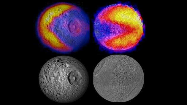A fotografia sonda Cassini outro 'Pacman' na lua de Saturno