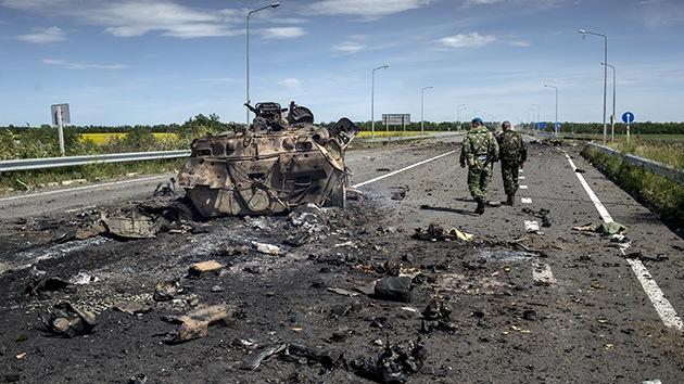 Autodefensas afirman haber encontrado en Lugansk  fragmentos de un misil balístico
