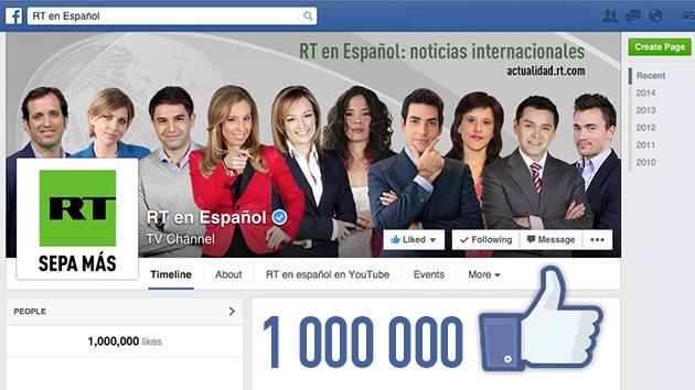 """RT en español les da un millón de gracias por su millón de """"me gusta"""" en Facebook"""