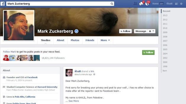 Un 'hacker' ignorado por Facebook notifica un fallo de la red en la página de Zuckerberg