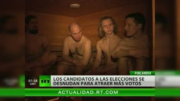 Los candidatos a los comicios en Finlandia se desnudan en una sauna para atraer electores