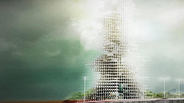 Imágenes: Un rascacielos que saca 'ladrillos' del humo