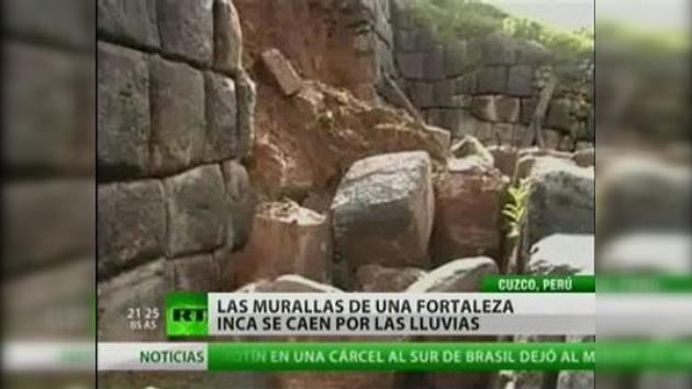 Un muro de una fortaleza inca se colapsó por las fuertes lluvias
