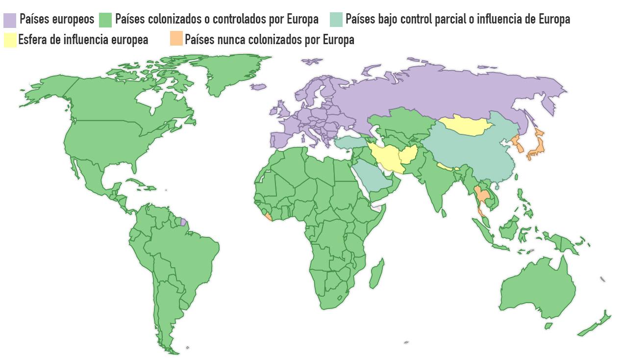 Mapamundi Los cinco pases que lograron escapar del colonialismo