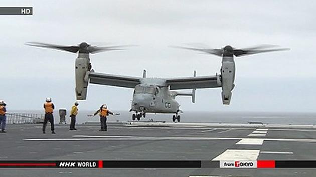 Convertiplanos Osprey de EE.UU. aterrizan por primera vez en un destructor japonés