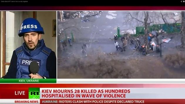 Un equipo de RT baleado por un francotirador en Kiev