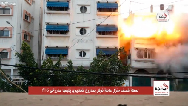 Video: Impactante ataque de un caza F-16 sobre una vivienda en Gaza