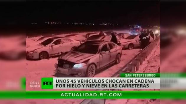 45 vehículos colisionaron en las cercanías de San Petersburgo