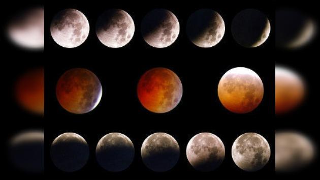 Eclipse lunar durante la Nochevieja en Rusia