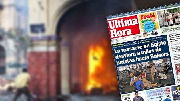 "Polémica portada: ""La masacre en Egipto desviará a miles de turistas hacia Baleares"""