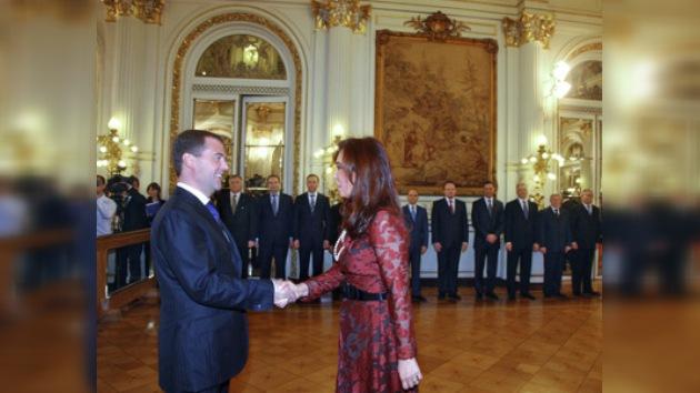 La rueda de prensa de Dmitri Medvédev y Cristina Fernández