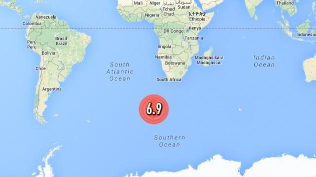Se registra un terremoto de magnitud 6,9 en el sur del océano Atlántico