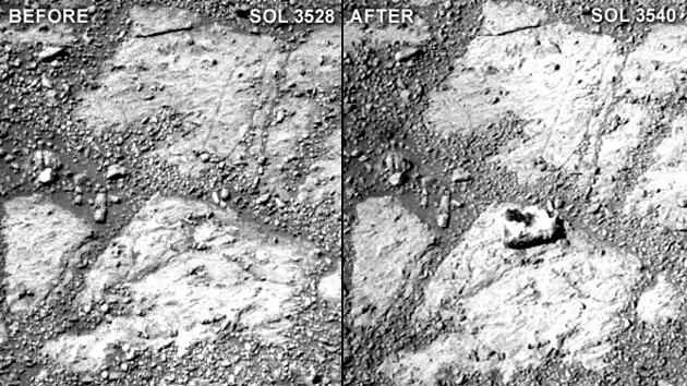 El Opportunity toma una foto de una roca en Marte que apareció enigmáticamente a su lado