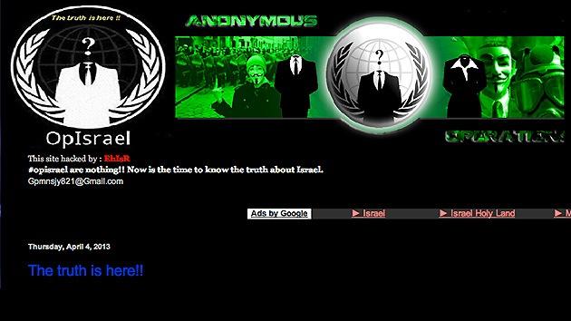 'Hackers' israelíes atacan una supuesta página de Anonymous