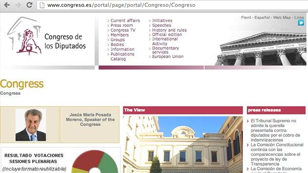 Atacan la web del Congreso español el día de su 'asedio'