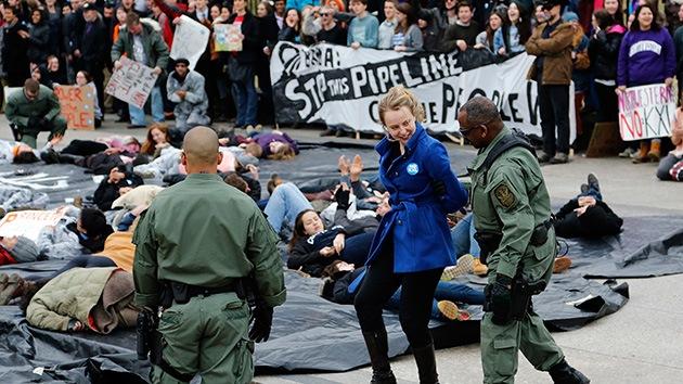 Fotos: Cientos de detenidos tras una protesta contra el oleoducto Keystone XL en EE.UU.